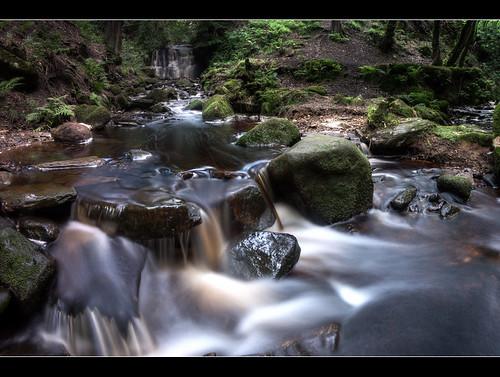 wood trees fall water rocks stream long exposure stones panoramic rivington stepping tigers land hdr clough wigan