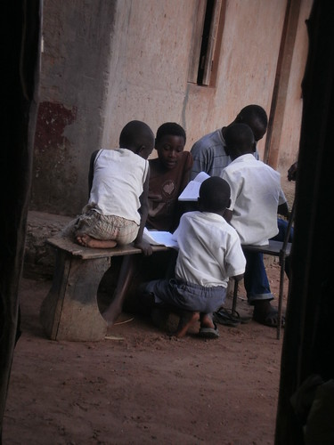 Children working on their homework in Soroti, Uganda