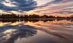 [フリー画像素材] 自然風景, 河川・湖, 朝焼け・夕焼け, 反射・鏡像, 風景 - イギリス ID:201207230600