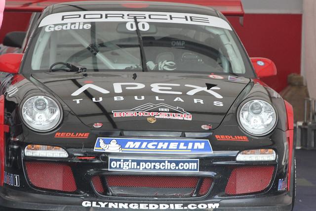 Porsche Carrera Cup driver Glyn Geddie in his garage at BTCC in Donington Park in April 2012