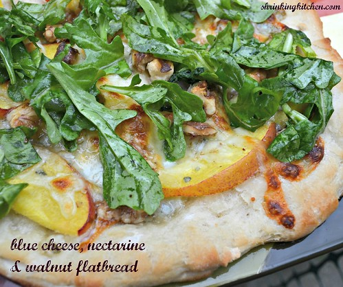 blue cheese, nectarine and walnut flatbread