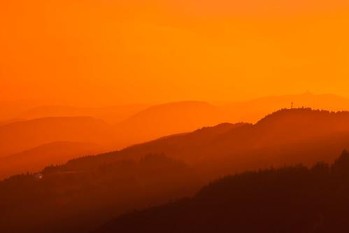 sunset house lake mountains alps fog radio switzerland tv haze smooth hills jura layers rays hazy solothurn chasseral biel weissenstein grenchenberg hasenmatt