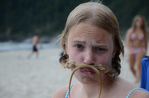 B and her 'stache