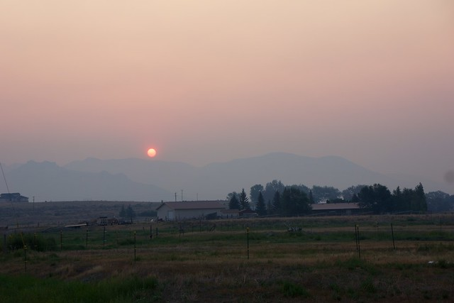 sunrise in Arco thru the smoke