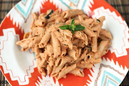 Pasta with Creamy Roasted Tomato Basil Sauce - Vegan + Gluten-free