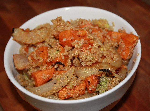 Sweet Potato, Onion & Avocado Quinoa Salad