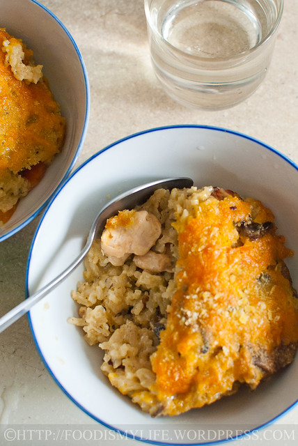 Cheesy Mushrooms and Chicken Baked Rice