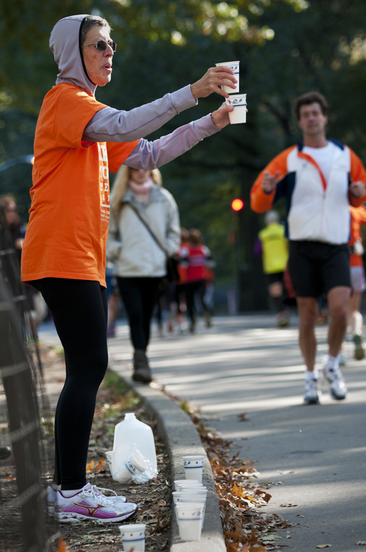 An impromptu water station in Central Park.
