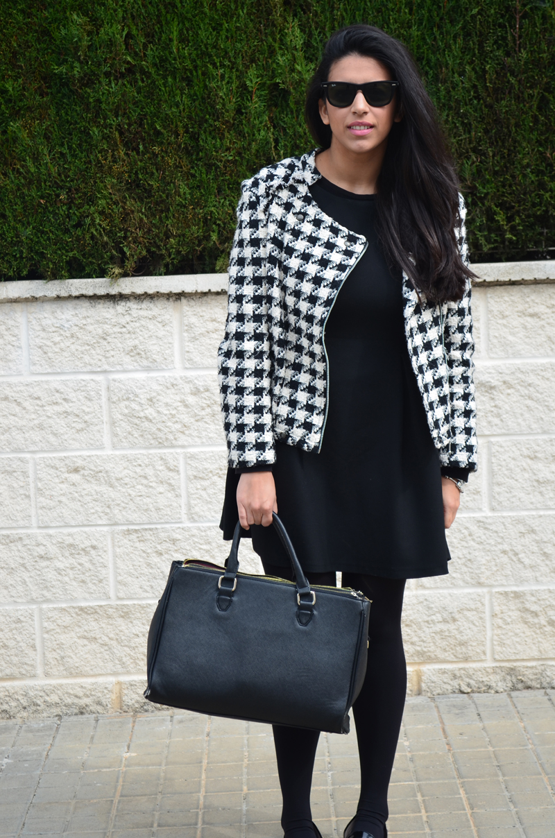 florenciablog tweedjacket estampado pata de gallo little black dress LBD mocasines zara (6)