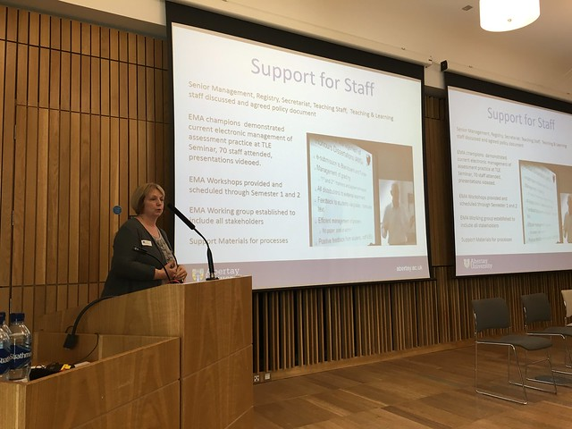 Carol Maxwell talks about the support for staff in rolling out eMarking at Abertay, at eLearning@ed 2016