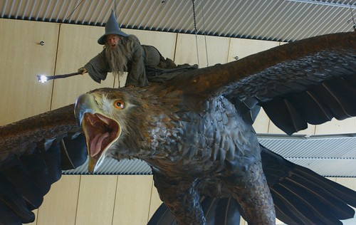 """<p>Wizard Gandalf rides a Great Eagle into Wellington """"Middle of Middle-Earth"""" Airport.</p>"""