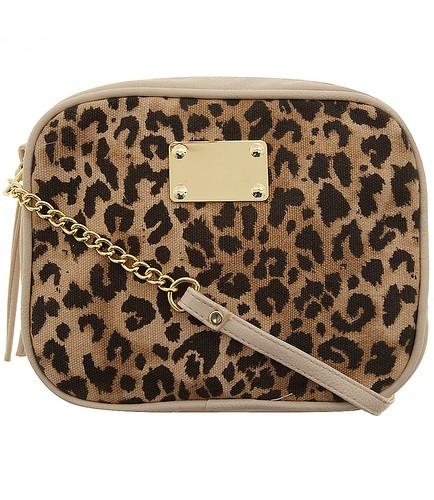 Leopard zip top crossbody