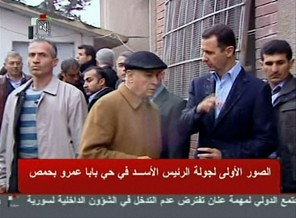 Syrian President Bashar al-Assad talking with people inside the country. The Syrian government has accepted a peace plan peddled by former UN General Secretary Kofi Anan. by Pan-African News Wire File Photos