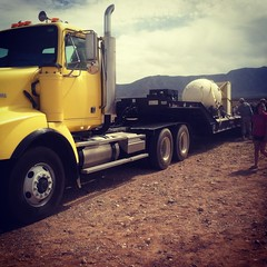 "Semi truck carrying ""The Gadget"""