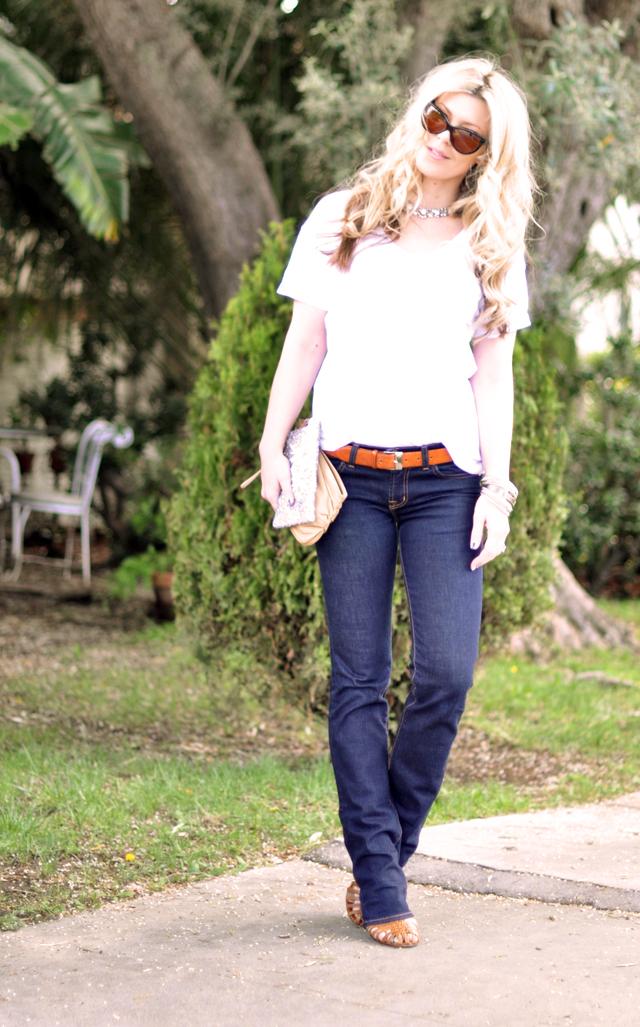 classic dark wash straigh leg jeans -  t shirt-rhinestones