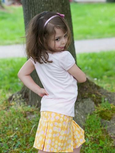 Posing in her skirt