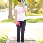 50's inspired outfit jeand and t shirt metallic pumps and pearls