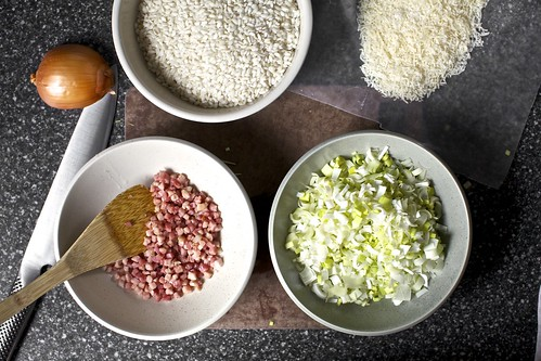 prep: pancetta, leeks, rice, cheese