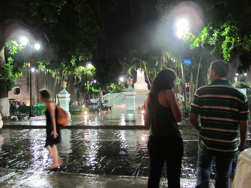 Rain in the square in Merida
