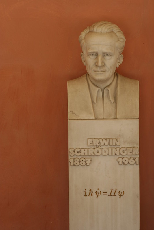 Erwin Schrodinger Sculpture In University of Vienna Courtyard - Vienna, Austria