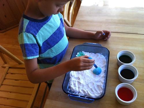 fun activity:  baking soda + colored vinegar + a dropper