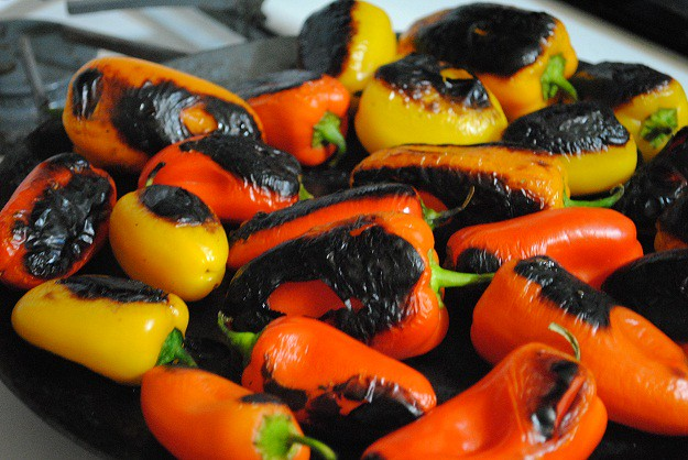roasted peppers on comal