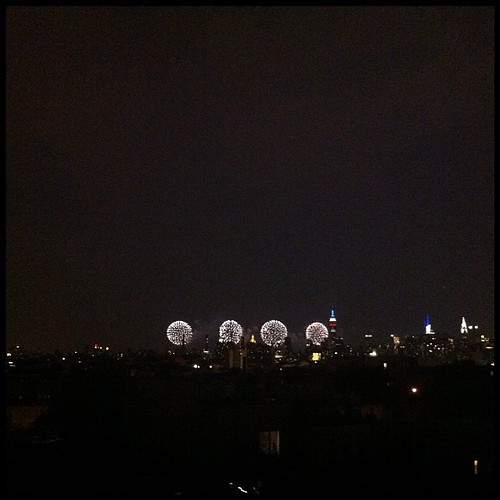 Fireworks over manhattan (from Brooklyn)