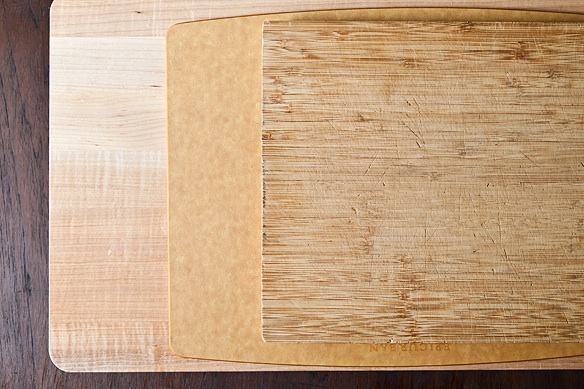 Stacked wood cutting boards