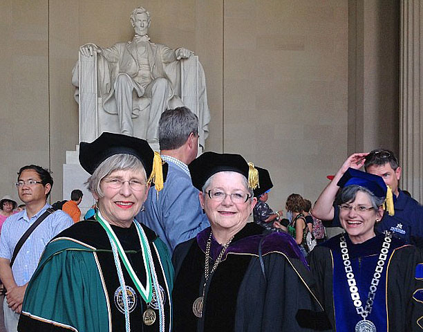 <p>University of Hawaii President M.R.C. Greenwood, right, and UH Manoa Chancellor Virginia Hinshaw, left, at the Lincoln Memorial in Washington, D.C. on Monday, June 25. Approximately 75 presidents of public land-grant colleges and universities gathered to honor Abraham Lincoln and his role in the passage of the Morrill Act of 1862.</p>