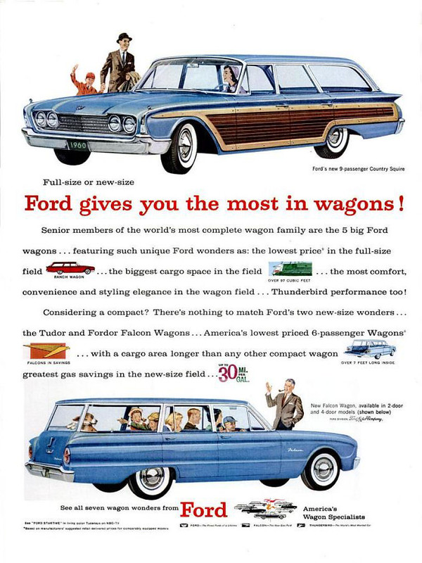 1960 Ford Country Squire wagon advertisement