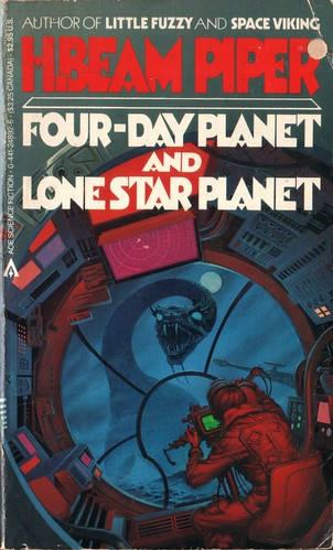 Four-Day Planet and Lone Star Planet by H. Beam Piper. Ace 1984. Cover art Michael Whelan