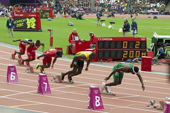 Usain Bolt off the blocks by Nick J Webb, on Flickr