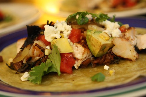 Blackened Swordfish and Shrimp Taco