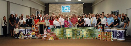 Missouri USDA employees created a can sculpture with over a thousand pounds of food they collected for the Food Bank of Central and Northeast Missouri.