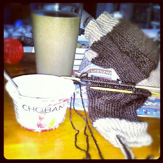 #fall is coming! Time to finish these #alpaca mitts #knitting #yarn #crafting #chobani #coffee #chobanipowered