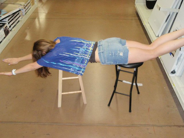 plank on bar stools