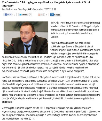 """Konfindustria: """"Të zhgënjyer nga Banka e Shqipërisë për normën 4% të interesit"""""""