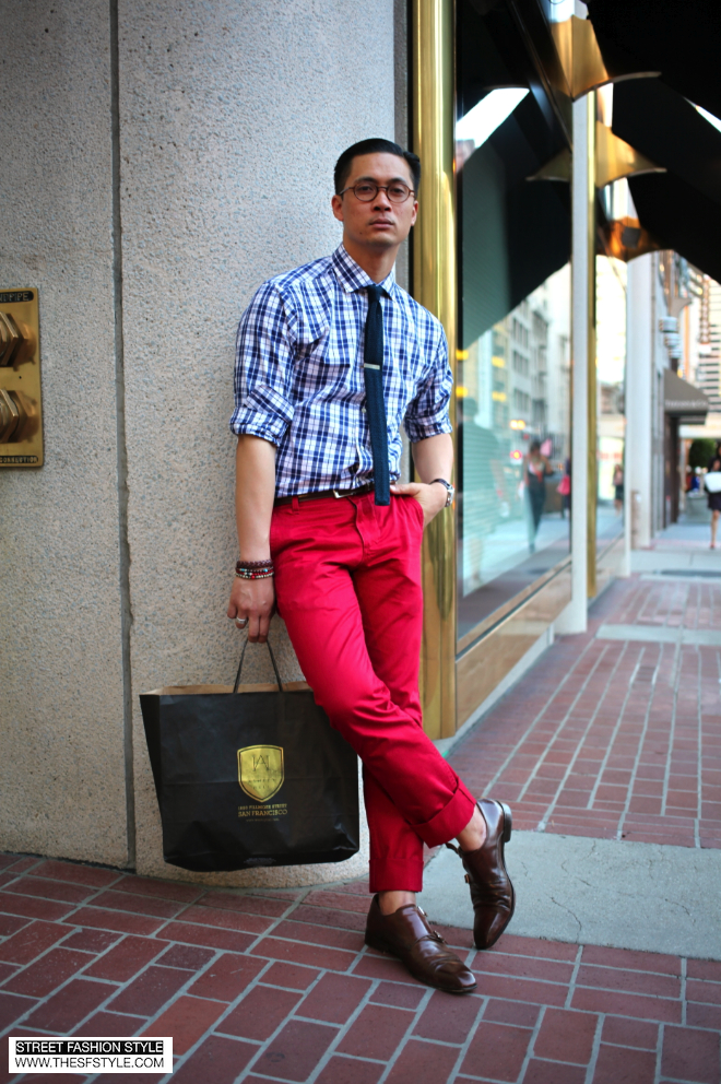square end tie, flat bottom tie, monkstrap, red pants, red trousers, man morsel monday, sfs. street fashion style, thesfstyle, thesfstyle.com, san francisco, street fashion blog, street style,