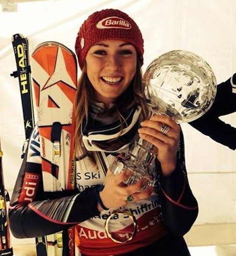 Mikaela Shiffrin with Crystal Globe