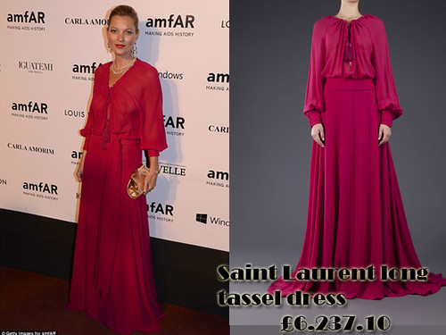 Kate Moss in Pink Saint Laurent long tassel dress