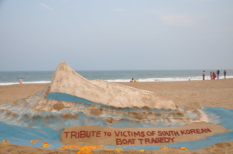 Sand artist Sri Manas Kumar Sahoo Tribute To Victims Of South Korean Boat Tragedy