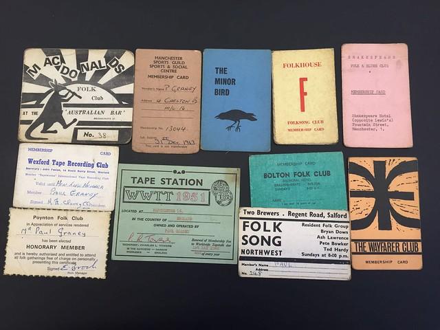 Paul Graney's folk club cards