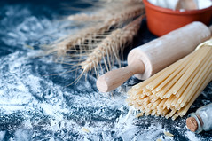 Pasta spaghetti with flour