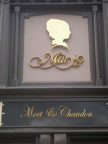 BESPOKE CARVED SIGN AT MARY'S BAR WITH GOLD LEAF & LED'S