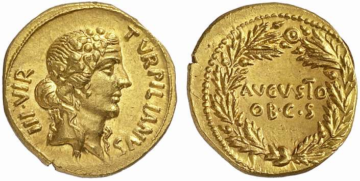 An Excessively Rare and Exceptional Roman Gold Aureus of Augustus (27 B.C.E.-14 C.E.), Probably the Finest Specimen Known of this Issue