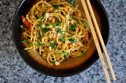 Vegetarian Red Curry Peanut Noodles