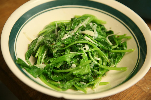 Wilted mustard greens with red pepper flakes and parmesan.