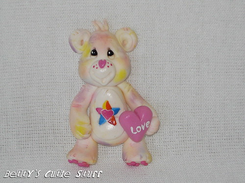 Care Bear Collection / True Heart Bear - Polymer Clay Bead / Charm / Bow Center
