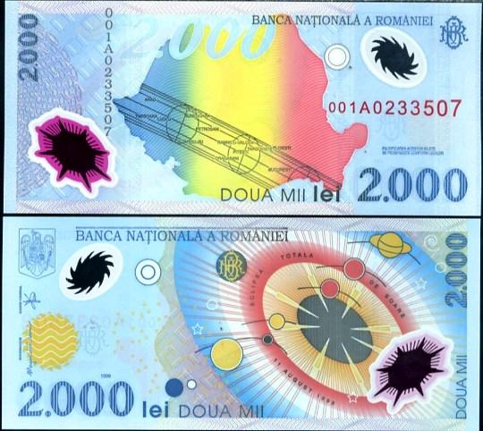 2000 Lei Rumunsko 1999, polymer, Pick 111
