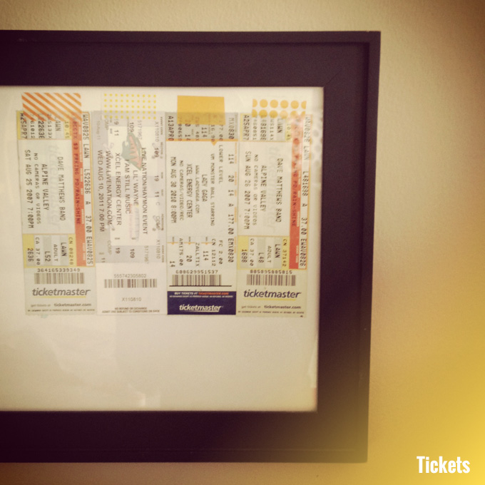 concert tickets washi tape art